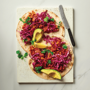 Fresh - Flat Bread With Chorizo, Chickpea & Avocado with Red Cabbage Pickle