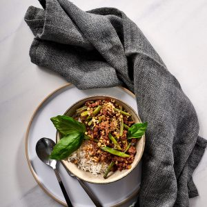 Thai Basil Pork With Green Beans And Basmati Rice