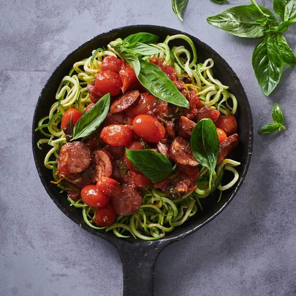 Low Carb Chorizo And Tomato With Zoodles
