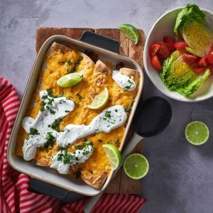beef and bean enchilada