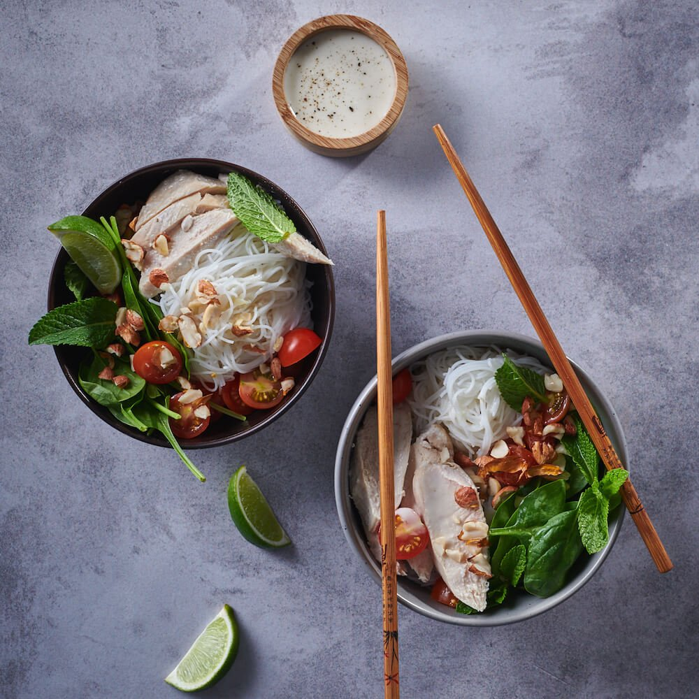 COCONUT, LIME AND CORIANDER POACHED CHICKEN & RICE NOODLE SALAD