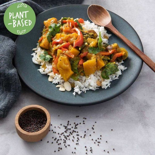 sweet potato bengal curry with almond rice plant-based vegan meal