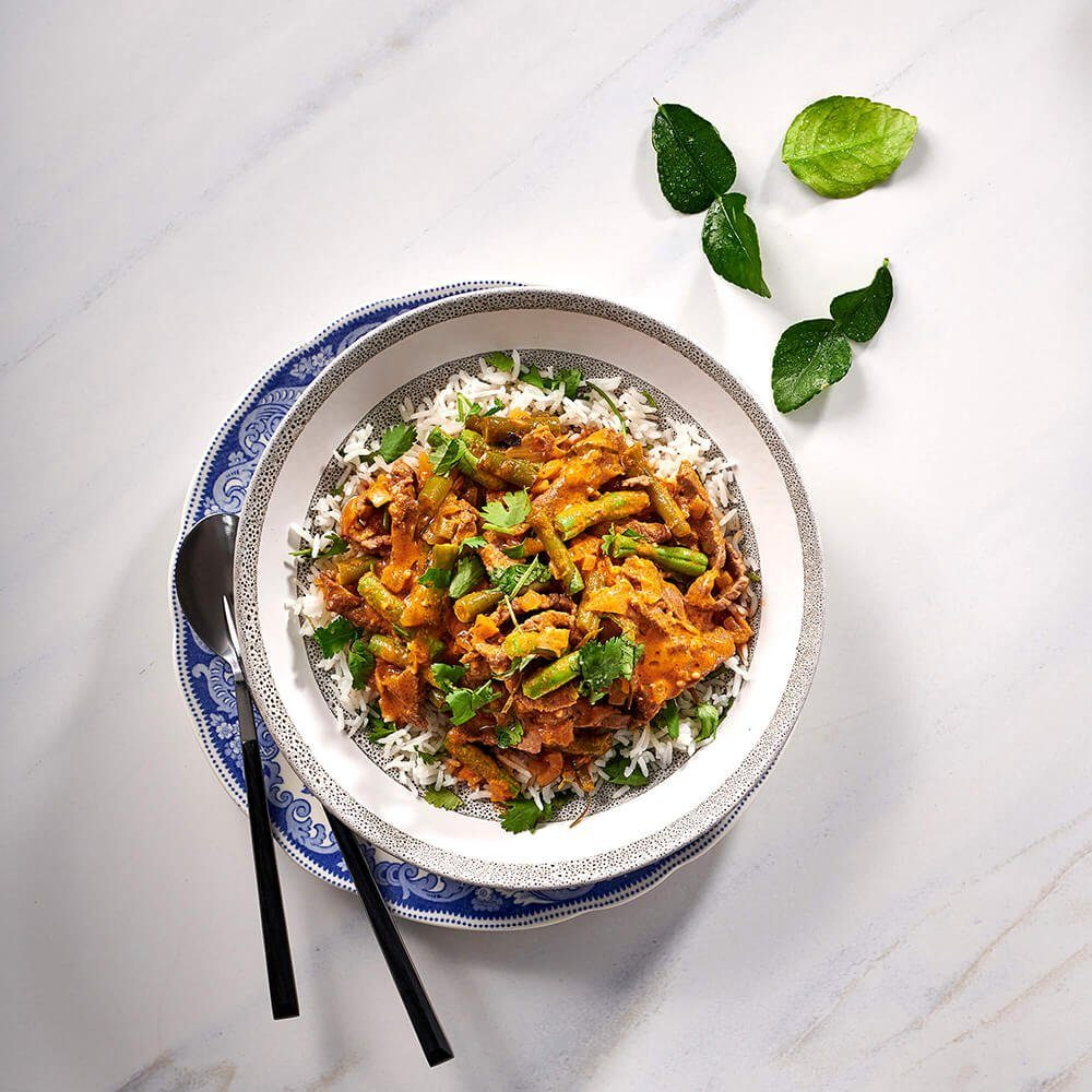 Beef And Coconut Red Curry Stir Fry With Coriander Rice