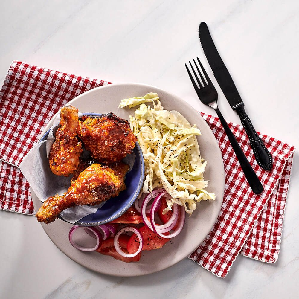 Fresh - Oven Fried Southern Honey Chicken With Slaw And Tomato Onion Salad