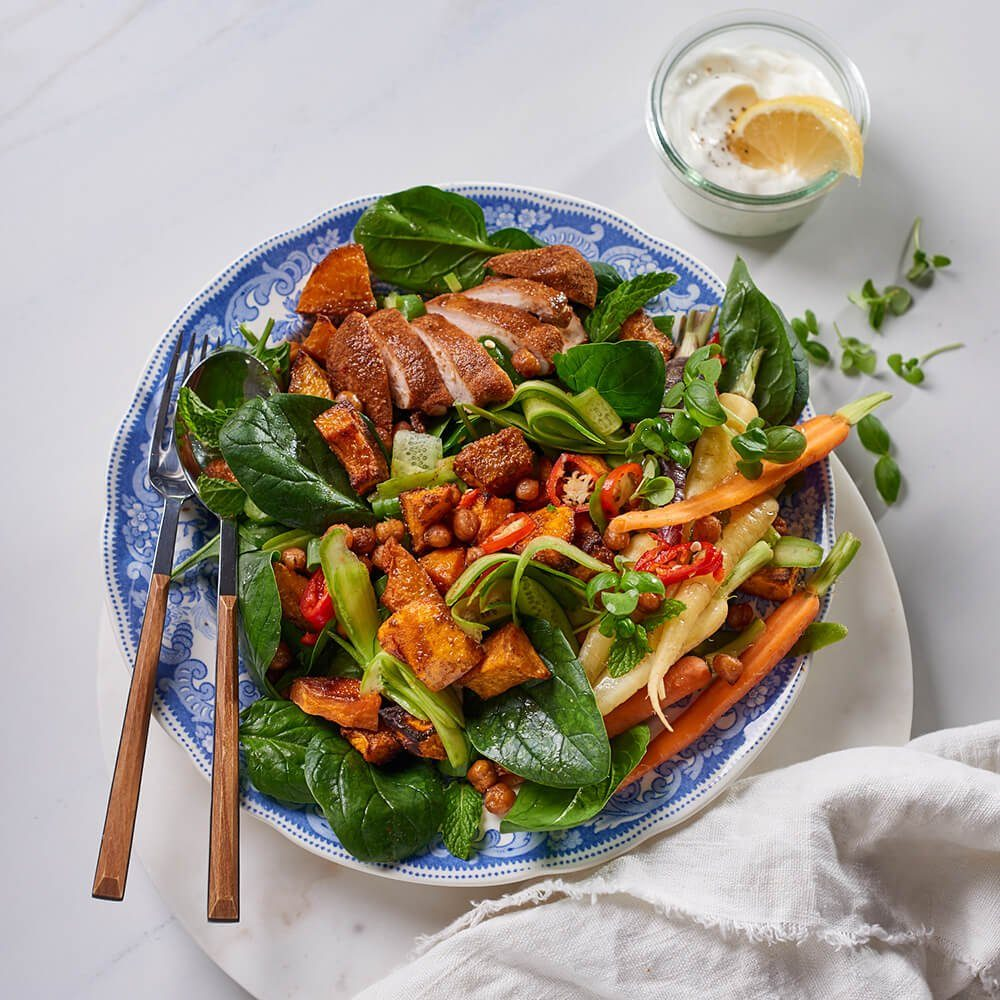Moroccan chicken, roasted chickpea and butternut salad with lemon yogurt - Flava & Co