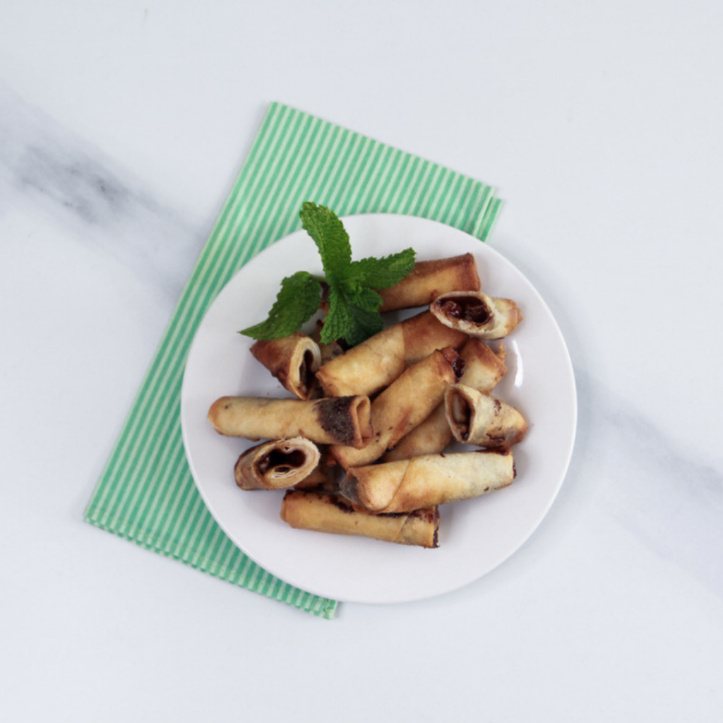 Salted Caramel Spring Rolls- Cooked
